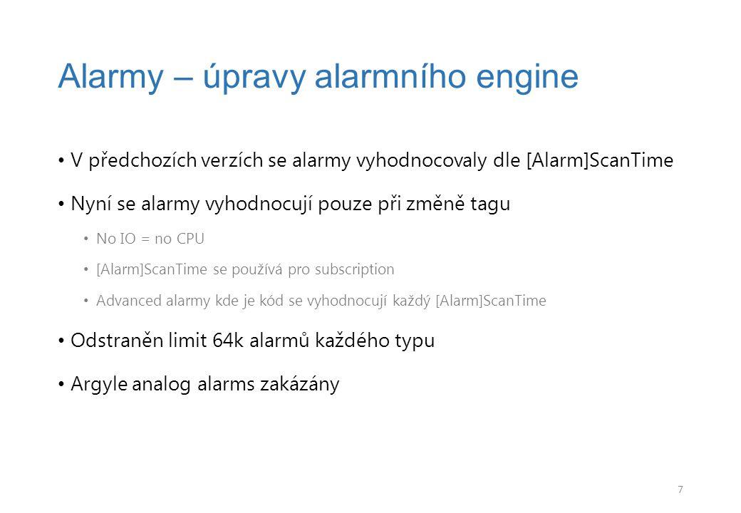 Alarmy – úpravy alarmního engine