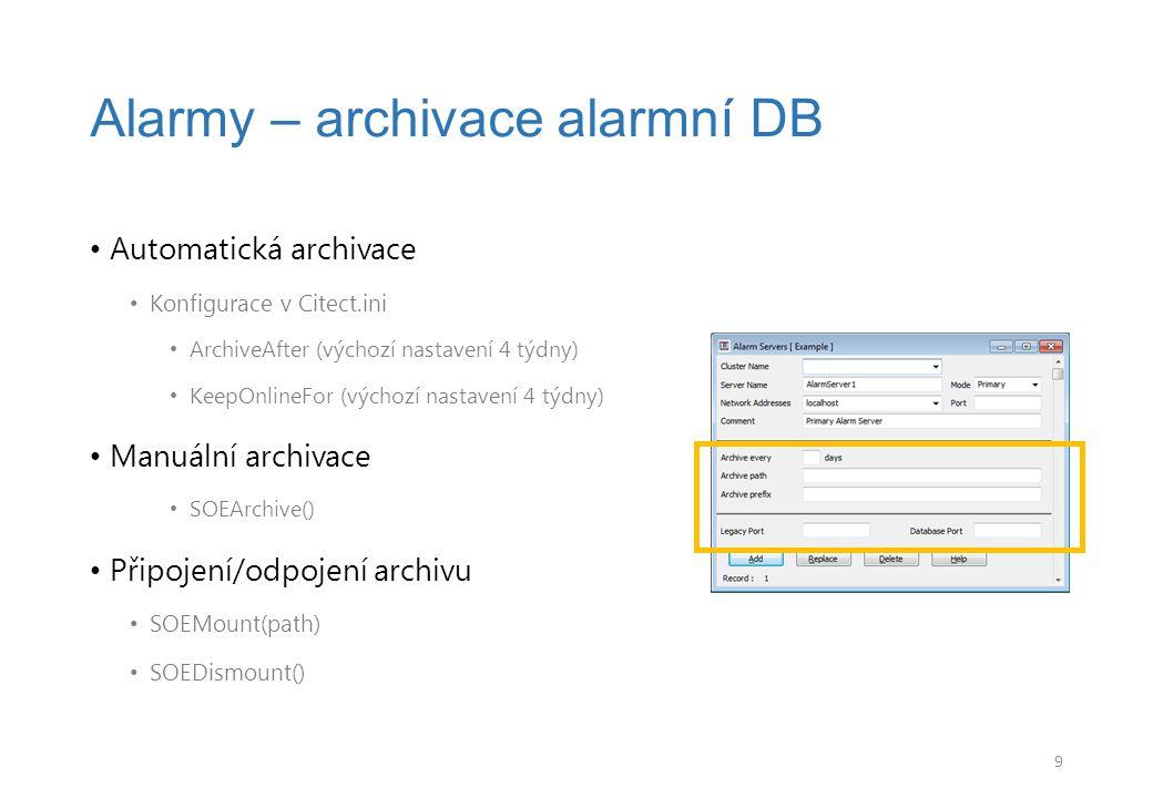 Alarmy – archivace alarmní DB