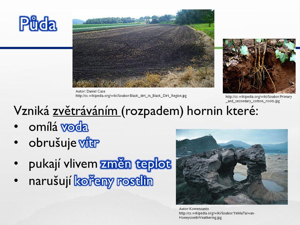 Půda Vzniká zvětráváním (rozpadem) hornin které: omílá voda