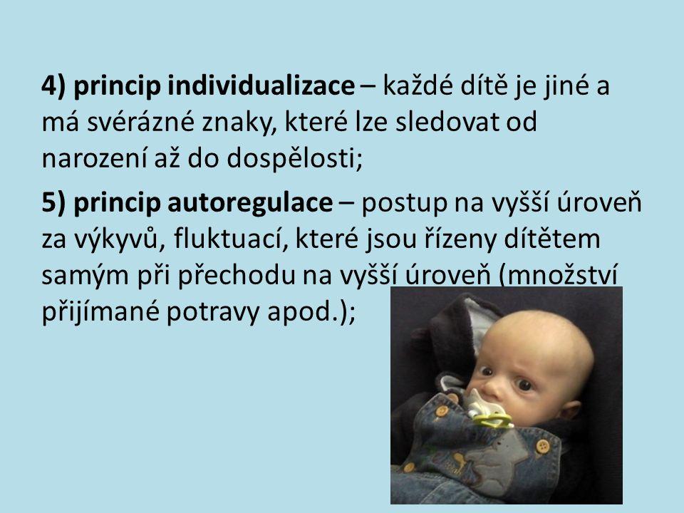 4) princip individualizace – každé dítě je jiné a má svérázné znaky, které lze sledovat od narození až do dospělosti;