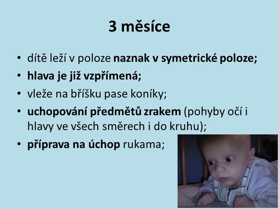 3 měsíce dítě leží v poloze naznak v symetrické poloze;
