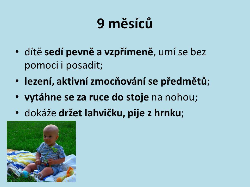 9 měsíců dítě sedí pevně a vzpřímeně, umí se bez pomoci i posadit;