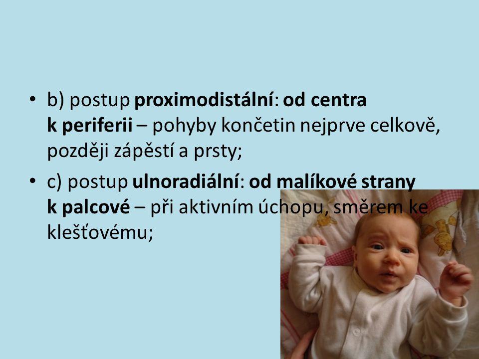 b) postup proximodistální: od centra k periferii – pohyby končetin nejprve celkově, později zápěstí a prsty;