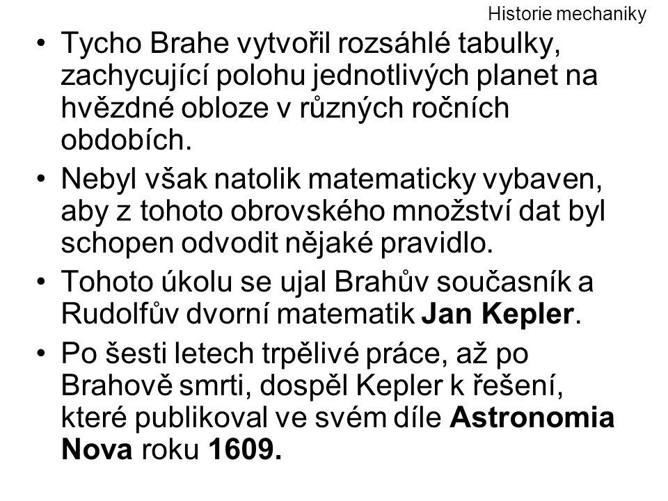 Historie mechaniky Tycho Brahe vytvořil rozsáhlé tabulky, zachycující polohu jednotlivých planet na hvězdné obloze v různých ročních obdobích.
