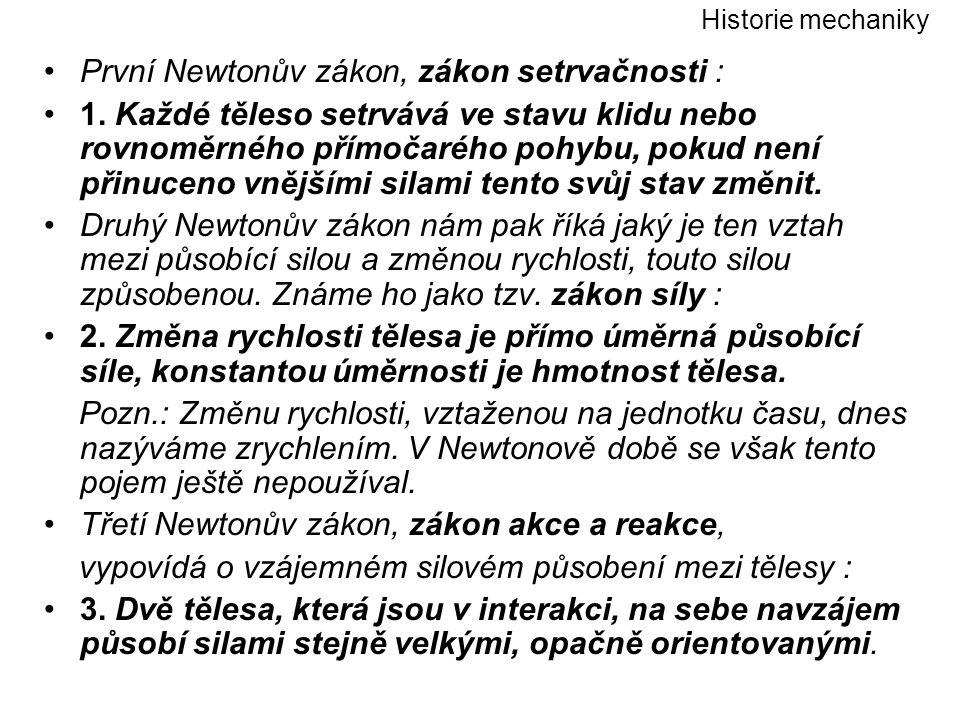 První Newtonův zákon, zákon setrvačnosti :