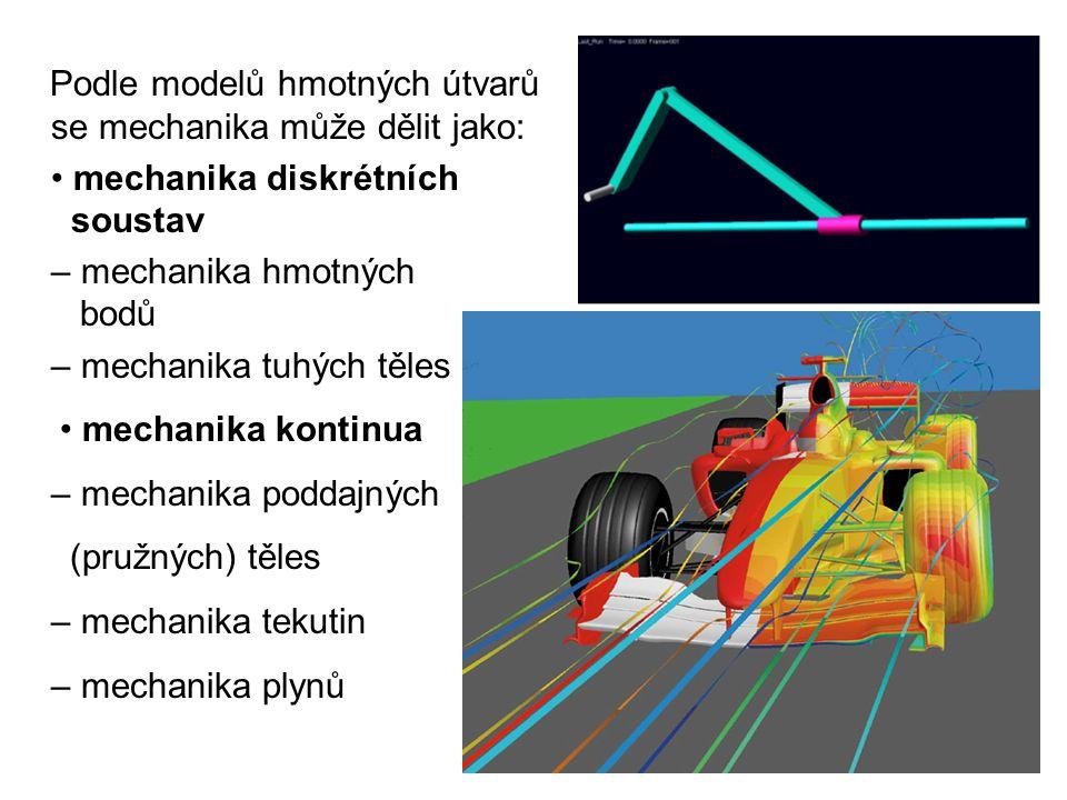 Podle modelů hmotných útvarů se mechanika může dělit jako: