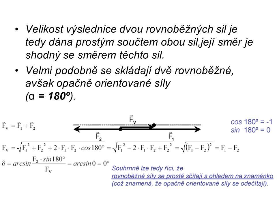 Velikost výslednice dvou rovnoběžných sil je tedy dána prostým součtem obou sil,její směr je shodný se směrem těchto sil.
