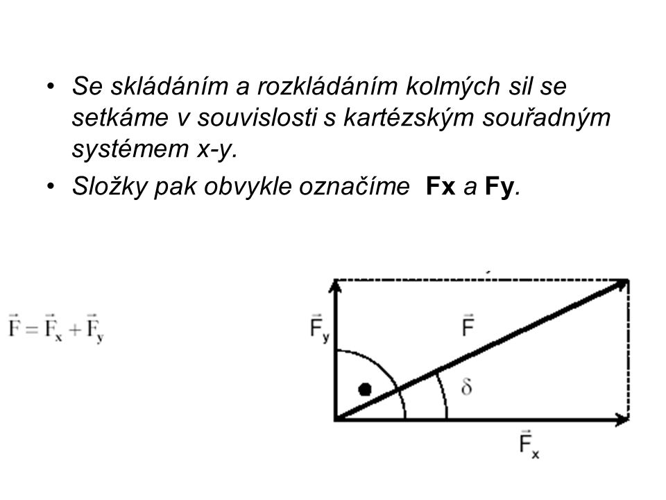 Se skládáním a rozkládáním kolmých sil se setkáme v souvislosti s kartézským souřadným systémem x-y.