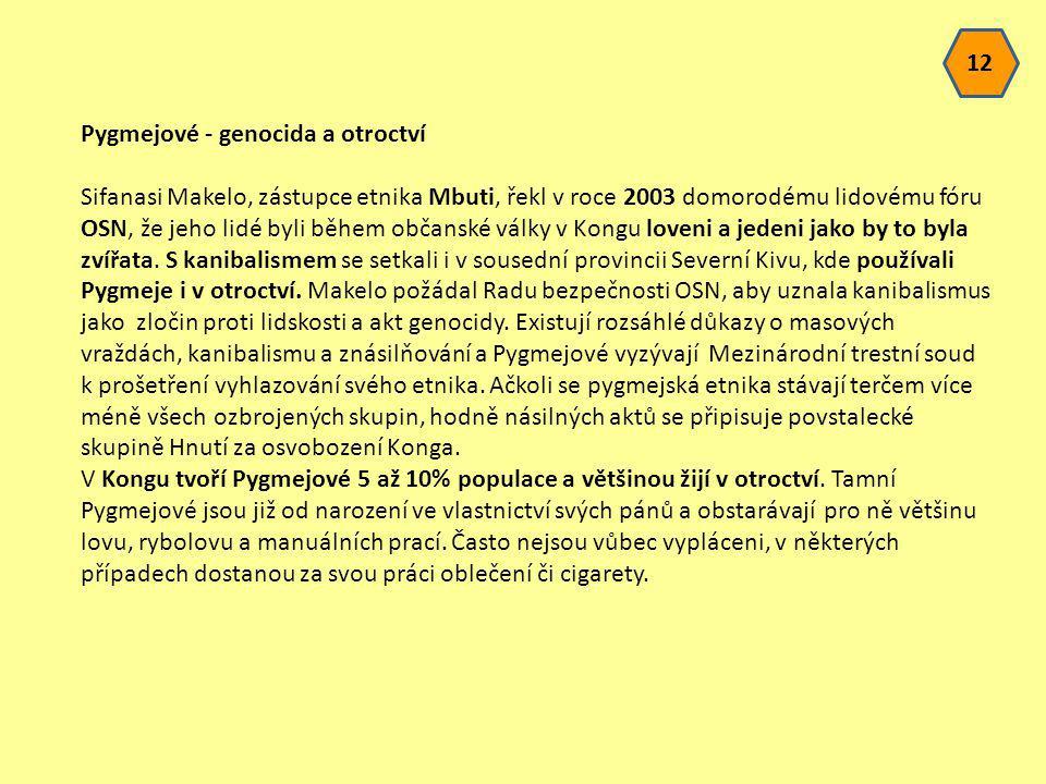 12 Pygmejové - genocida a otroctví.