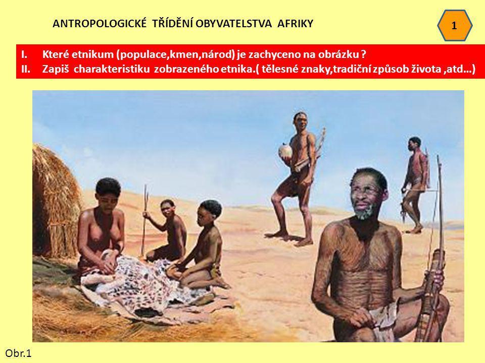 1 ANTROPOLOGICKÉ TŘÍDĚNÍ OBYVATELSTVA AFRIKY. Které etnikum (populace,kmen,národ) je zachyceno na obrázku