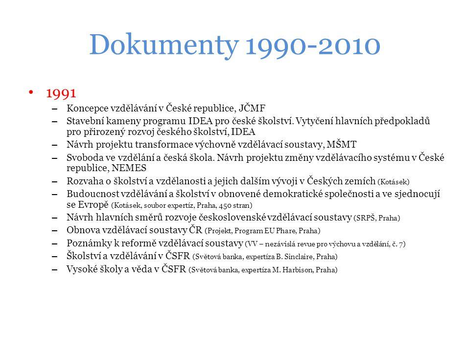 Dokumenty 1990-2010 1991 Koncepce vzdělávání v České republice, JČMF