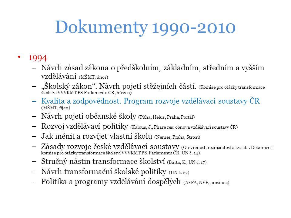 Dokumenty 1990-2010 1994. Návrh zásad zákona o předškolním, základním, středním a vyšším vzdělávání (MŠMT, únor)