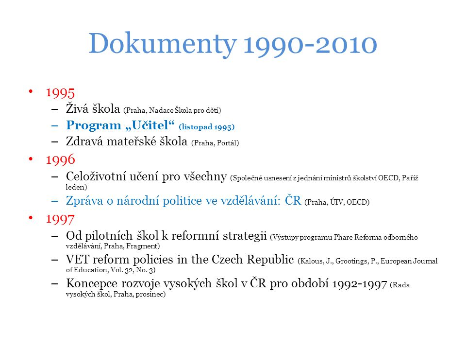 """Dokumenty 1990-2010 1995. Živá škola (Praha, Nadace Škola pro děti) Program """"Učitel (listopad 1995)"""