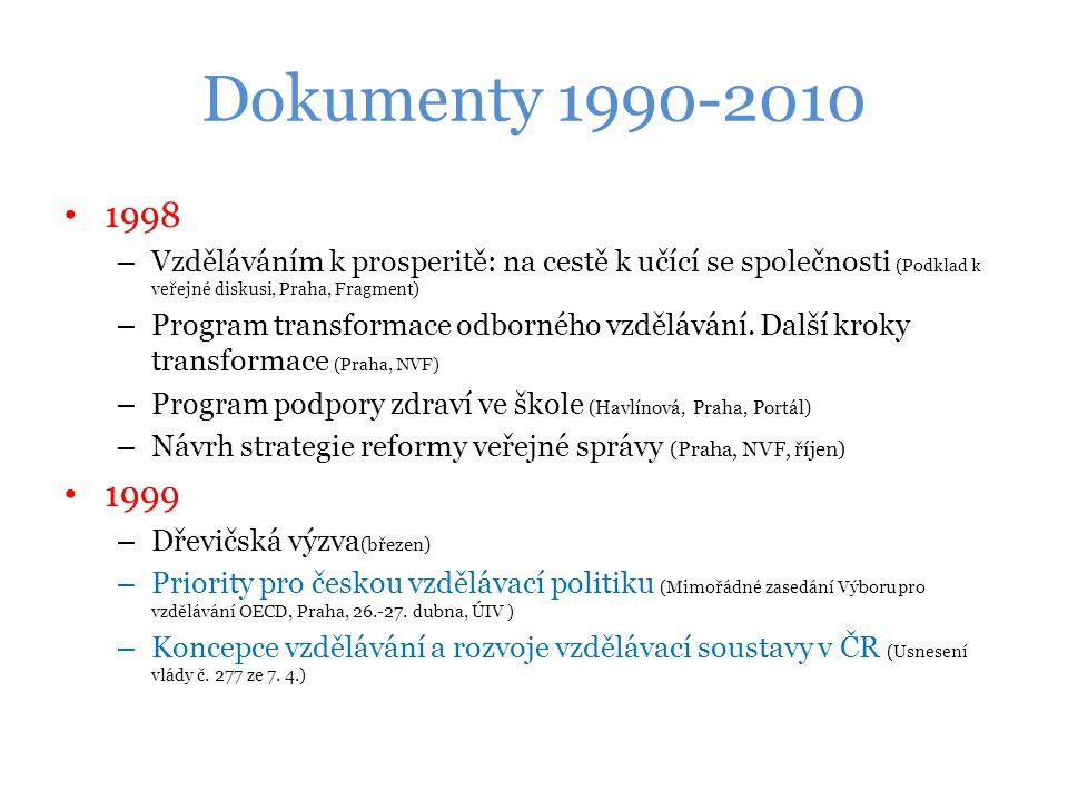 Dokumenty 1990-2010 1998. Vzděláváním k prosperitě: na cestě k učící se společnosti (Podklad k veřejné diskusi, Praha, Fragment)