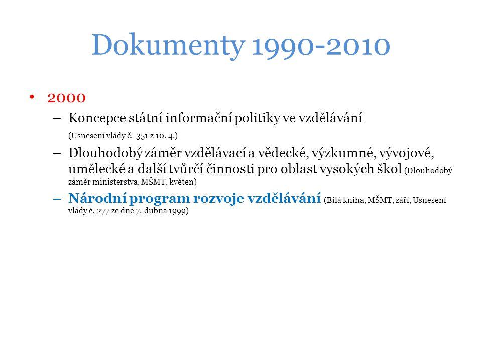 Dokumenty 1990-2010 2000. Koncepce státní informační politiky ve vzdělávání (Usnesení vlády č. 351 z 10. 4.)