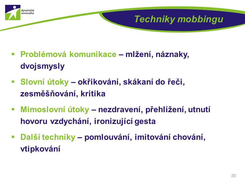 Techniky mobbingu Problémová komunikace – mlžení, náznaky, dvojsmysly