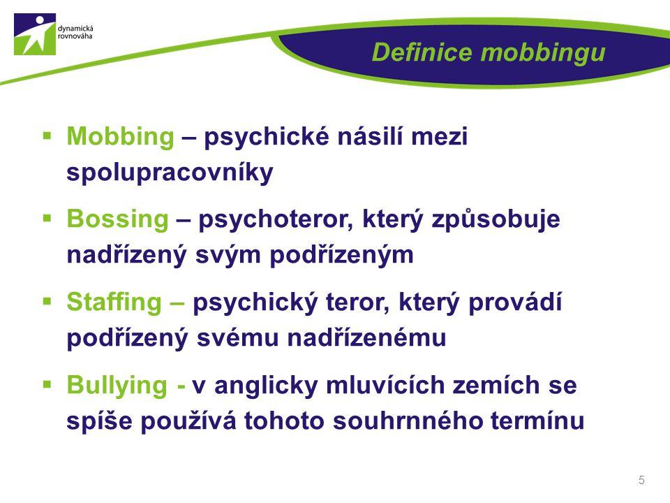 Definice mobbingu Mobbing – psychické násilí mezi spolupracovníky. Bossing – psychoteror, který způsobuje nadřízený svým podřízeným.