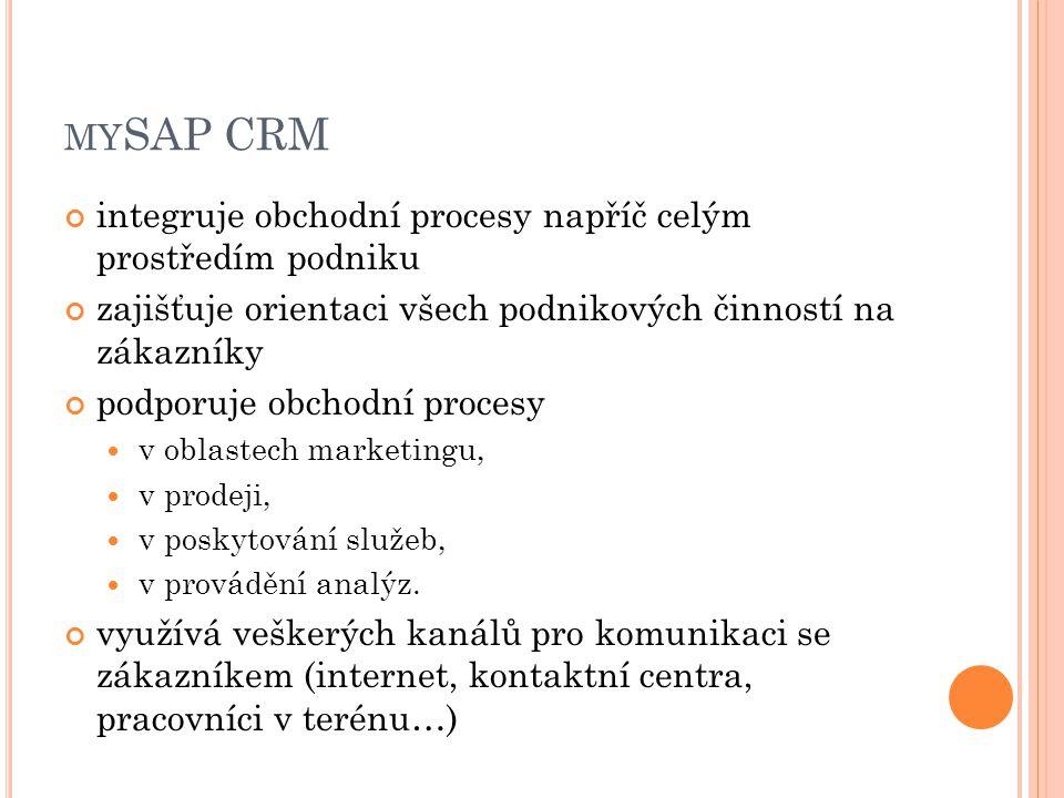 mySAP CRM integruje obchodní procesy napříč celým prostředím podniku