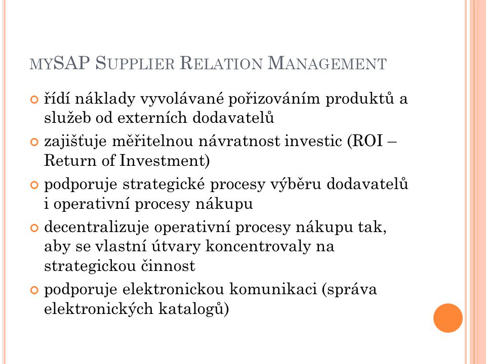 mySAP Supplier Relation Management