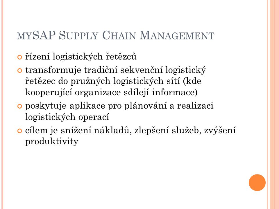 mySAP Supply Chain Management