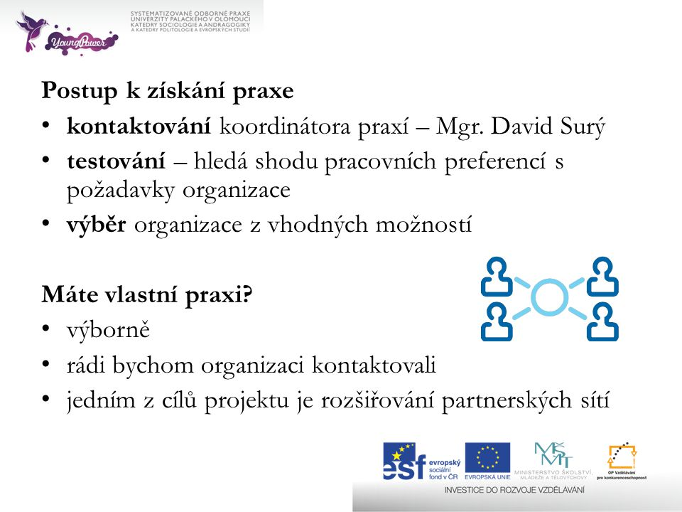 Postup k získání praxe kontaktování koordinátora praxí – Mgr. David Surý. testování – hledá shodu pracovních preferencí s požadavky organizace.