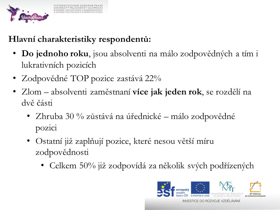 Hlavní charakteristiky respondentů: