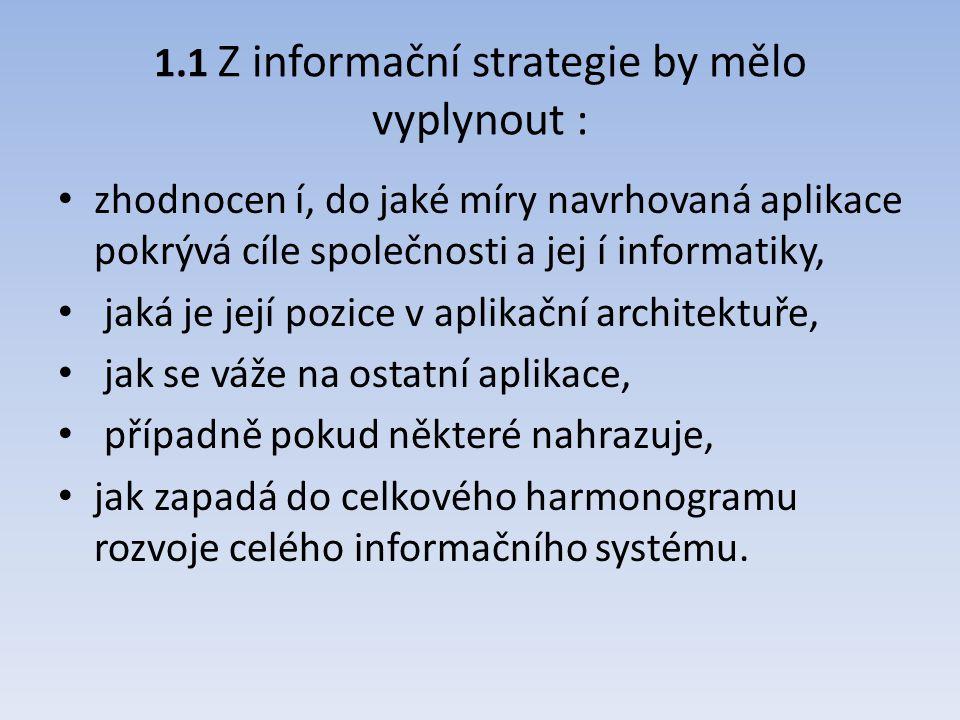 1.1 Z informační strategie by mělo vyplynout :