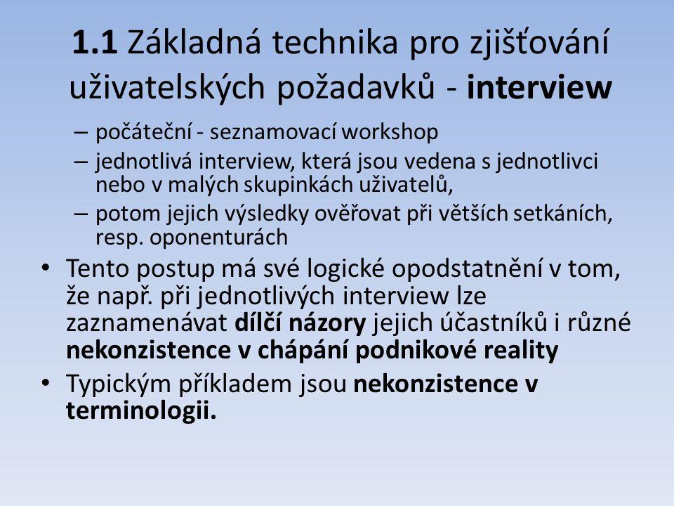 1.1 Základná technika pro zjišťování uživatelských požadavků - interview