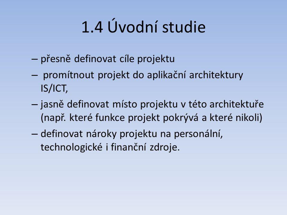 1.4 Úvodní studie přesně definovat cíle projektu