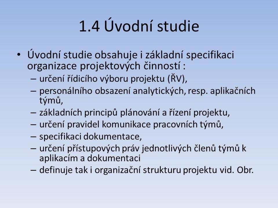1.4 Úvodní studie Úvodní studie obsahuje i základní specifikaci organizace projektových činností : určení řídicího výboru projektu (ŘV),