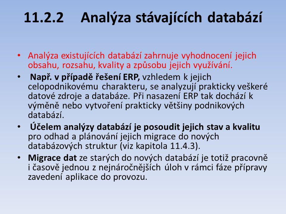 11.2.2 Analýza stávajících databází