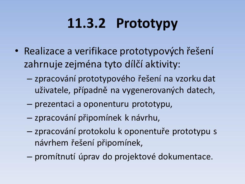 11.3.2 Prototypy Realizace a verifikace prototypových řešení zahrnuje zejména tyto dílčí aktivity: