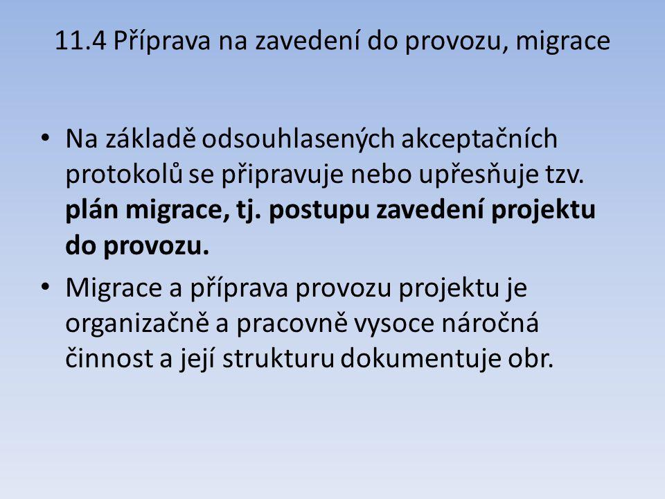 11.4 Příprava na zavedení do provozu, migrace