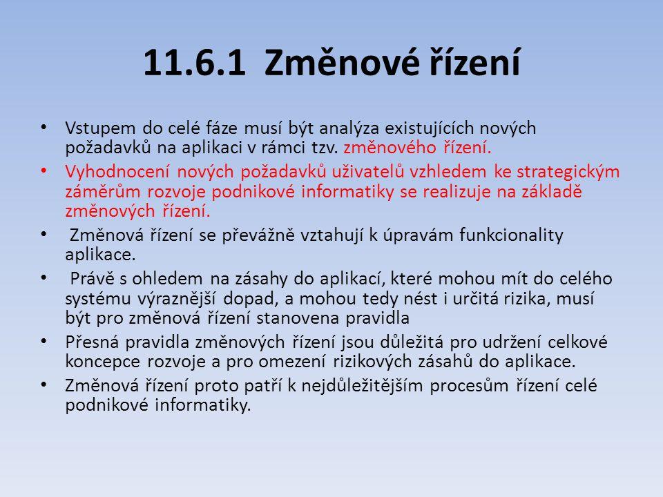 11.6.1 Změnové řízení Vstupem do celé fáze musí být analýza existujících nových požadavků na aplikaci v rámci tzv. změnového řízení.
