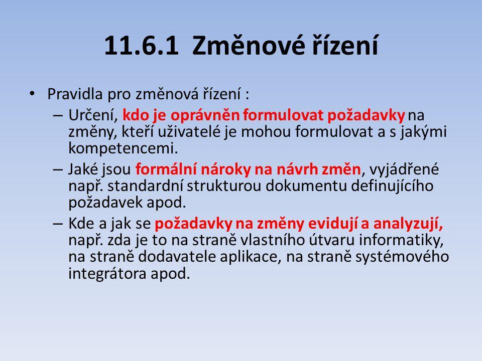 11.6.1 Změnové řízení Pravidla pro změnová řízení :