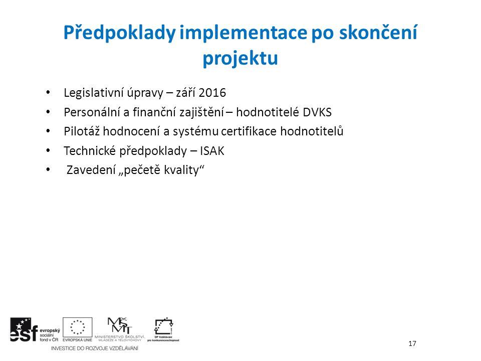 Předpoklady implementace po skončení projektu