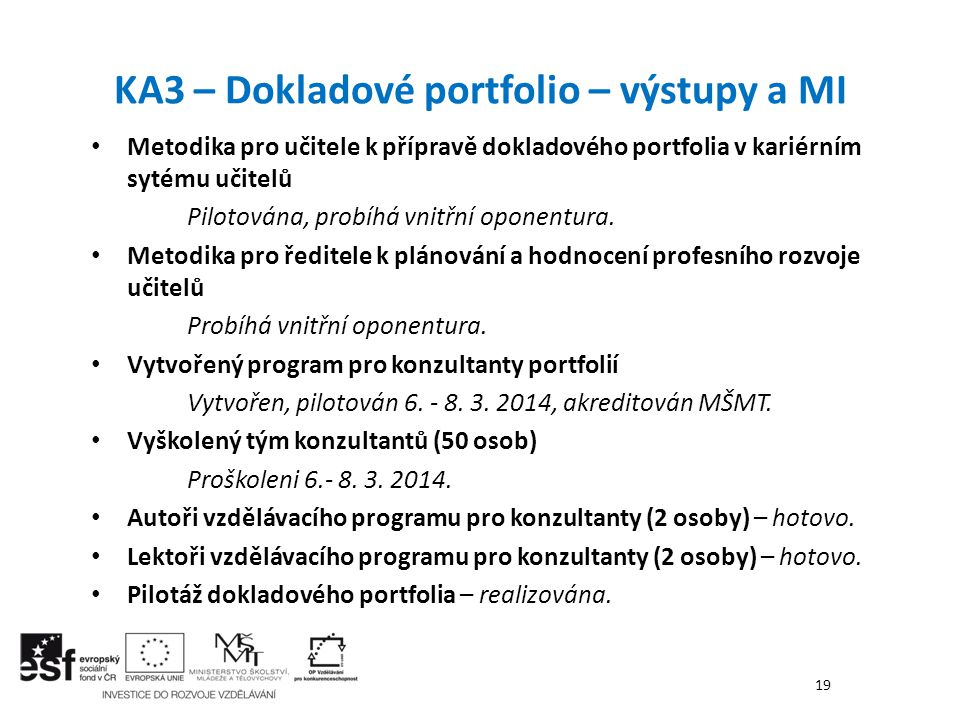 KA3 – Dokladové portfolio – výstupy a MI