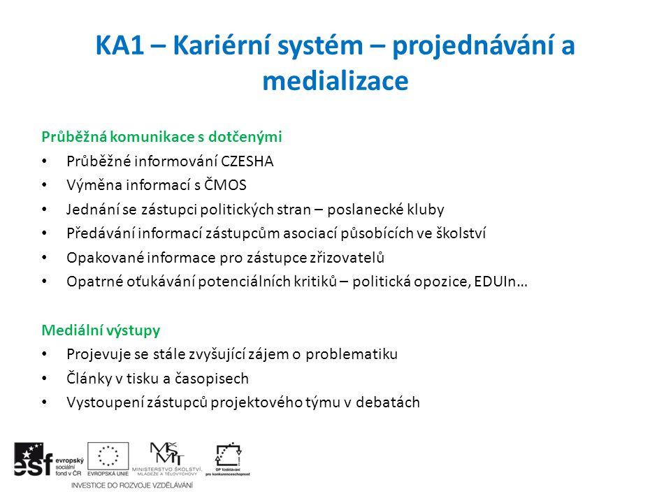 KA1 – Kariérní systém – projednávání a medializace