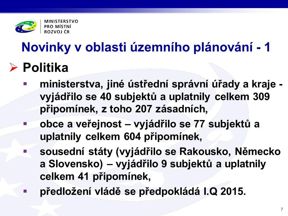 Novinky v oblasti územního plánování - 1