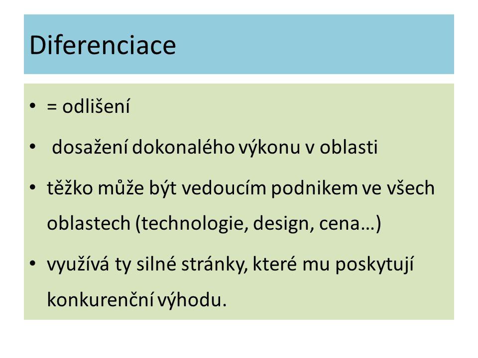 Diferenciace = odlišení dosažení dokonalého výkonu v oblasti