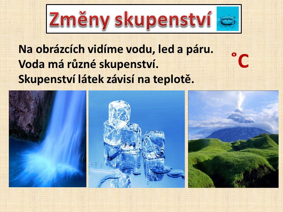 Změny skupenství ˚C Na obrázcích vidíme vodu, led a páru.