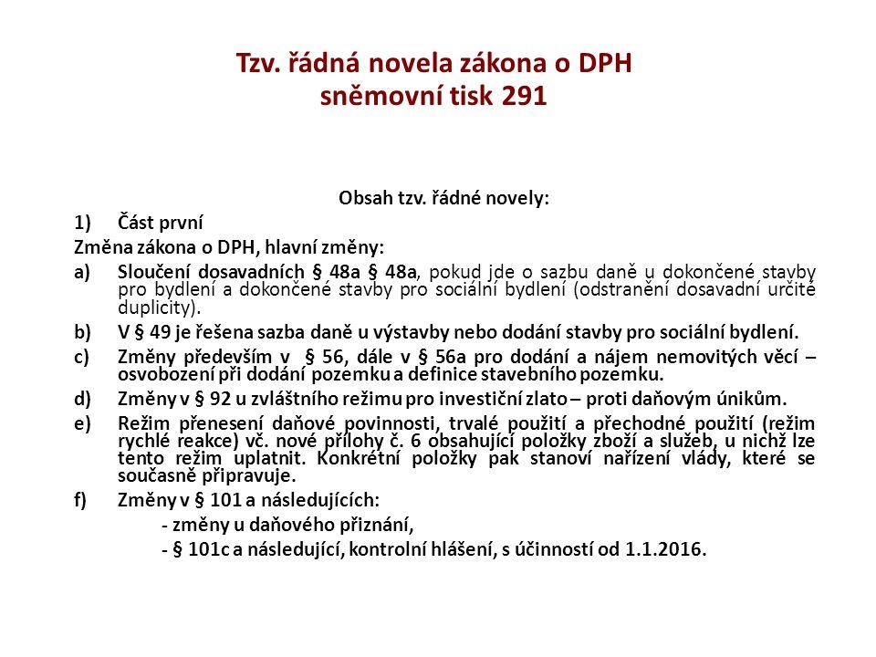 Tzv. řádná novela zákona o DPH sněmovní tisk 291