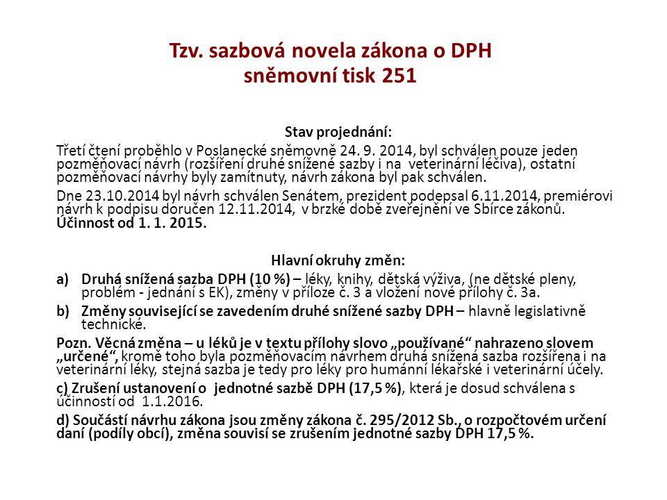Tzv. sazbová novela zákona o DPH sněmovní tisk 251