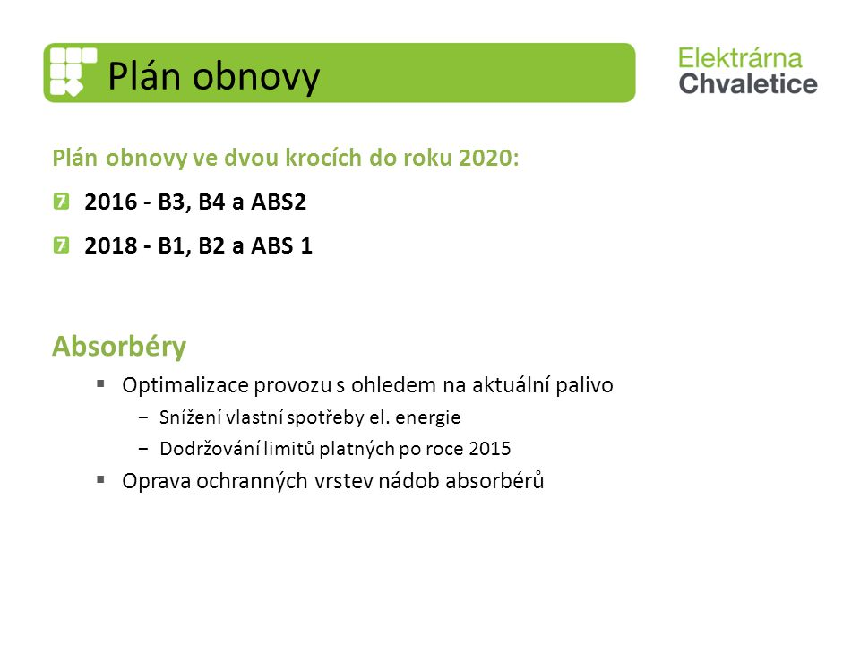 Plán obnovy Absorbéry Plán obnovy ve dvou krocích do roku 2020: