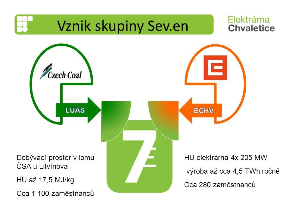 Vznik skupiny Sev.en LUAS ECHV Dobývací prostor v lomu ČSA u Litvínova