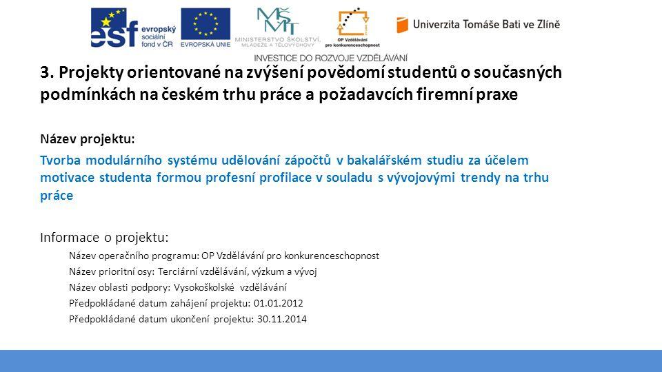3. Projekty orientované na zvýšení povědomí studentů o současných podmínkách na českém trhu práce a požadavcích firemní praxe