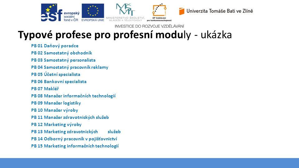 Typové profese pro profesní moduly - ukázka