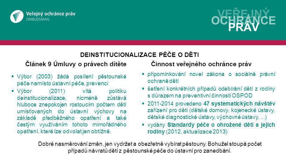 Článek 9 Úmluvy o právech dítěte Činnost veřejného ochránce práv
