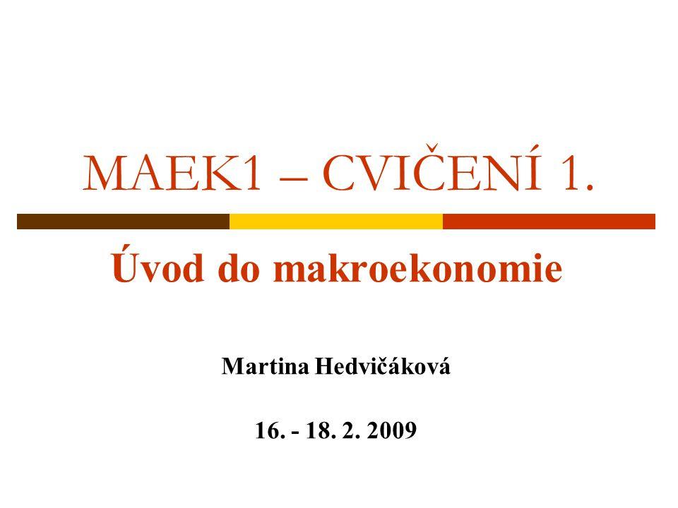 Úvod do makroekonomie Martina Hedvičáková 16. - 18. 2. 2009