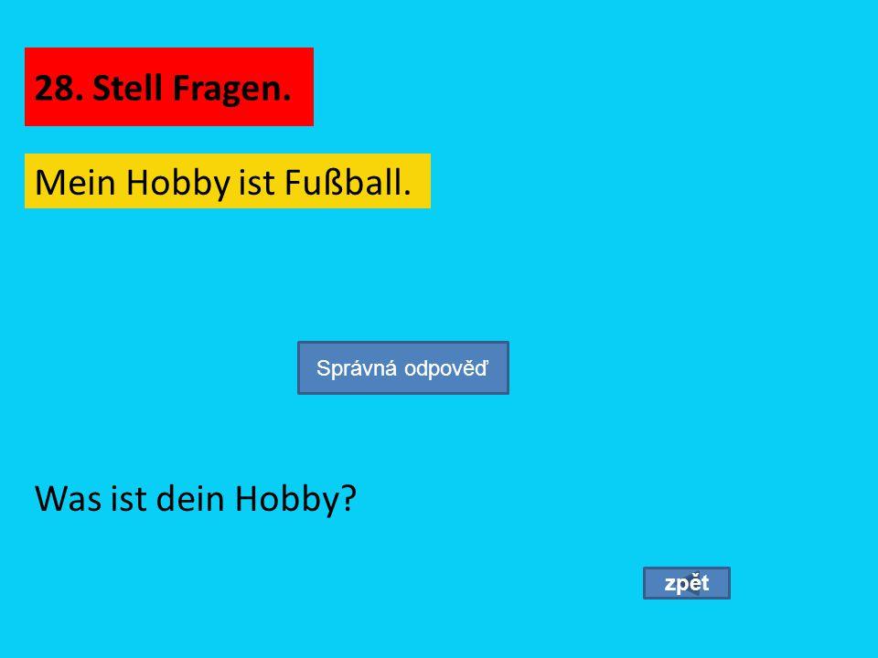 28. Stell Fragen. Mein Hobby ist Fußball. Was ist dein Hobby